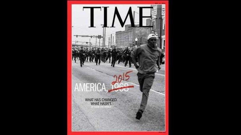 Capa da Time: reportagem de capa desta edição trás uma cobertura dos conflitos entre a população de Baltimore e a polícia local